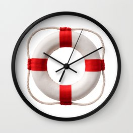 White-red lifebuoy, isolated on white background Wall Clock