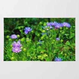 Lavender Blue Flowers Rug