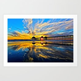 Sunset ~ Huntington Beach Pier CA  11/7/13 Art Print
