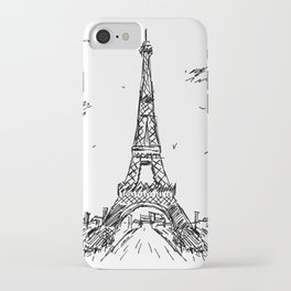 Paris Eiffel Tower Drawing iPhone Case