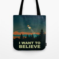 i want to believe Tote Bags featuring I want to believe by mangulica