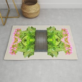 Fresh pink Kalanchoe plant in pot surreal shaped symmetrical kaleidoscope Rug