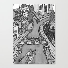 Old city on the river In black&white OP02 Canvas Print