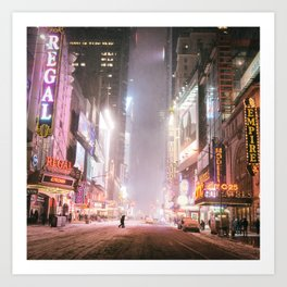 New York City Colorful Snowy Night in Times Square Art Print