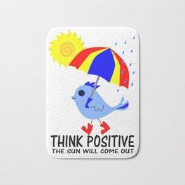 Blue Bird Think Positive Image Bath Mat