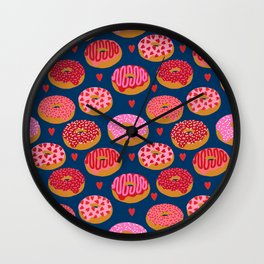 Pink and Red donuts hearts love valentines day cute gifts for foodie Wall Clock