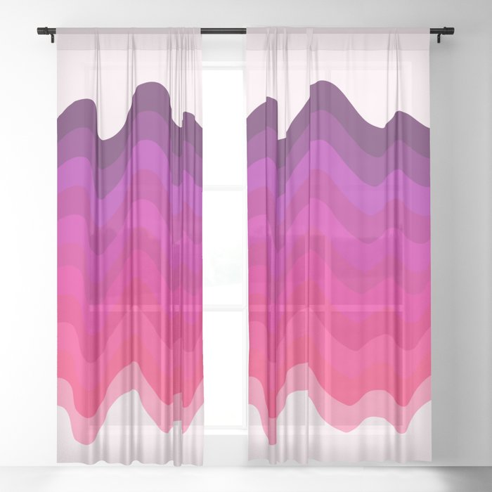 Retro Ripple in Pinks Sheer Curtain