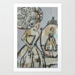 In the mirror (grey) Art Print
