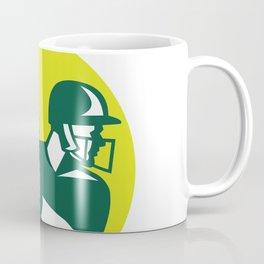 Cricket Batsman Batting Icon Retro Coffee Mug