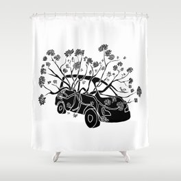 Break Free - Car With Tree Growing In It Illustration Shower Curtain
