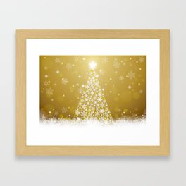 Gold Snowflakes Sparkling Christmas Tree Framed Art Print