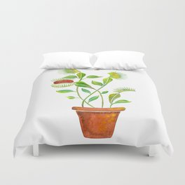 Venus Fly Trap Watercolor Duvet Cover