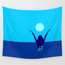 Blue sky and moon is calling me.. Wall Tapestry