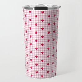Strawberry Picnic Pattern (pink) Travel Mug