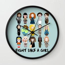 Kokeshis Fight like a girl Wall Clock