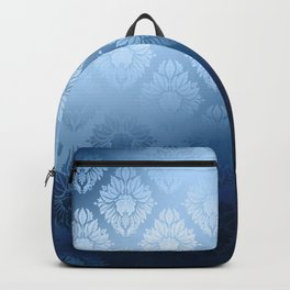"""Navy blue Damask Pattern"" Backpack"