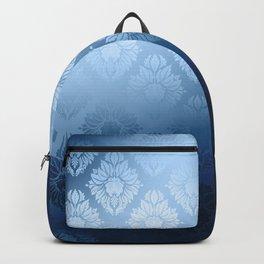 """Navy blue Damask Pattern"" Backpack"
