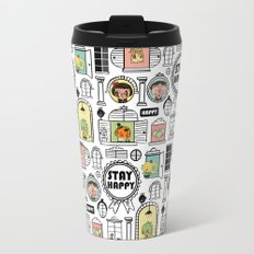 Pattern Stay Happy Animals Travel Mug