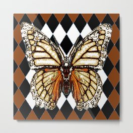 BLACK HARLEQUIN PATTERNED BROWN-WHITE  BUTTERFLY Metal Print