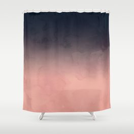 Modern abstract dark navy blue peach watercolor ombre gradient Shower Curtain
