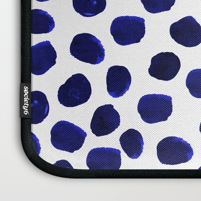 Indigo Spots Dots Minimal Modern Abstract Painting Boho Dorm College Decor Monochromatic Nautical Laptop Sleeve