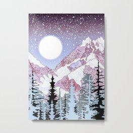 pale pink mountain range and moon Metal Print