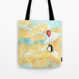 Penguin and a Red Balloon Tote Bag