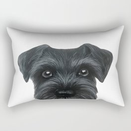 Black Schnauzer, Dog illustration original painting print Rectangular Pillow