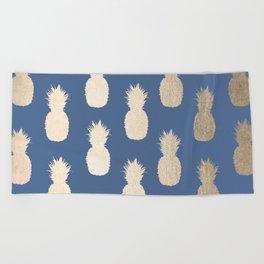 Gold Pineapples on Aegean Blue Beach Towel