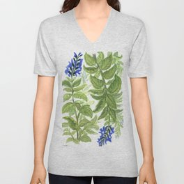 Blue Wildflower Watercolor Unisex V-Neck