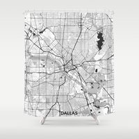 dallas Shower Curtains featuring Dallas Map Gray by City Art Posters