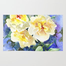 Yellow Roses and Blue Background Rug