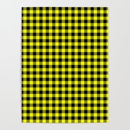 Classic Yellow Country Cottage Summer Buffalo Plaid Poster