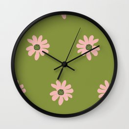 Colorful retro home decor and textile design flower pattern on olive Wall Clock