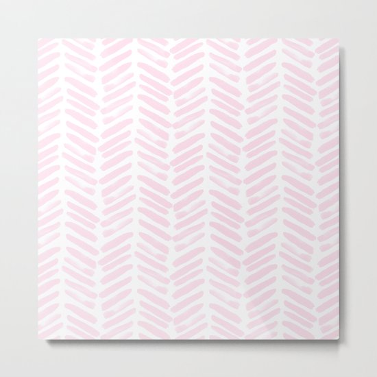 Handpainted Chevron pattern light pink stripes Metal Print