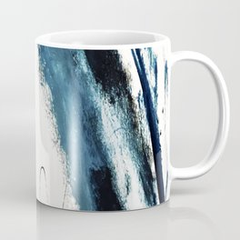 Reykjavik: a pretty and minimal mixed media piece in black, white, and blue Coffee Mug