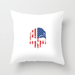 Heavy Metal Rock N' Roll Electric Instrument With Skull Of American Flag T-shirt Design White Throw Pillow