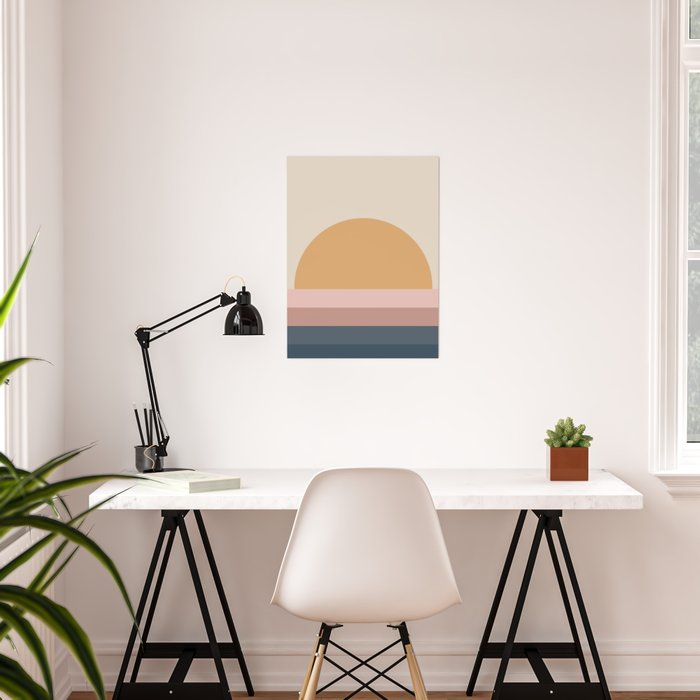 Minimal Retro Sunset - Neutral Poster