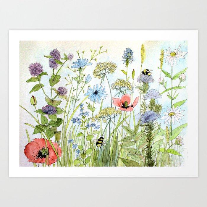 Floral Watercolor Botanical Cottage Garden Flowers Bees Nature Art Kunstdrucke