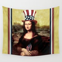mona lisa Wall Tapestries featuring Patriotic Mona Lisa  by Gravityx9