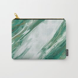 Emerald Jade Green Gold Accented Painted Marble Carry-All Pouch