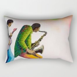African American Masterpiece 'Bass, Sax, and Jazz' by Benny Andrews Rectangular Pillow