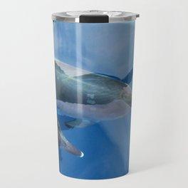 Dolphins and human shadows Travel Mug