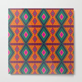 Orange African Pattern Metal Print