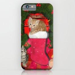 Christmas, funny kitten iPhone Case
