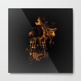 Skull Burning Digital Collage Illustration Metal Print
