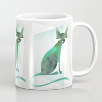 mid century modern Mugs featuring Mid-Century Feline by a. peterson