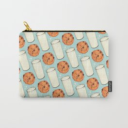 Milk & Cookies Pattern - Blue Carry-All Pouch