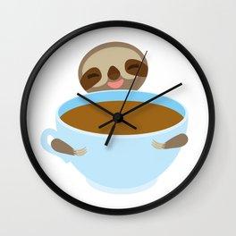 sloth & coffee Wall Clock
