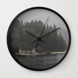 Foggy mornings at the lake II - landscape photography Wall Clock